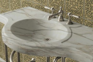 Lavabo in marmo calacatta ricavato dal pieno